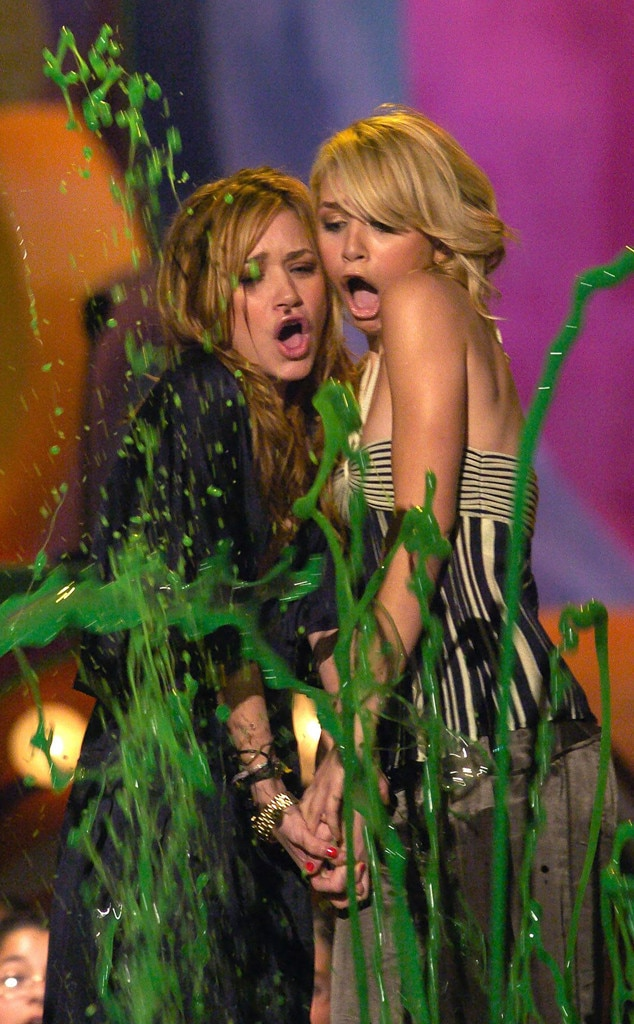 Ashley and Mary-Kate Olsen -  The famous twins got a double dose of slime in 2004.