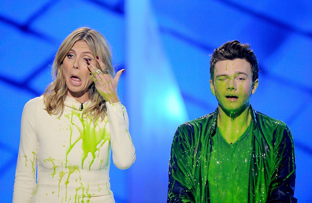 Heidi Klum & Chris Colfer -  The supermodel couldn't wipe away all of the slime.