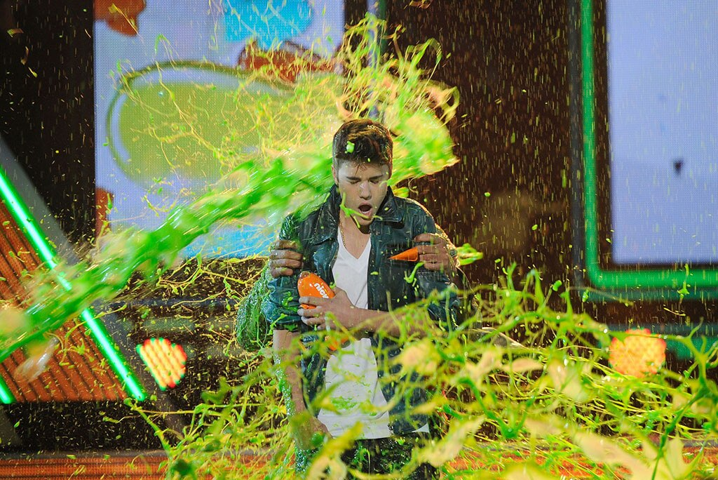 Justin BIeber -  The Biebs got totally showered in slime back in 2012.