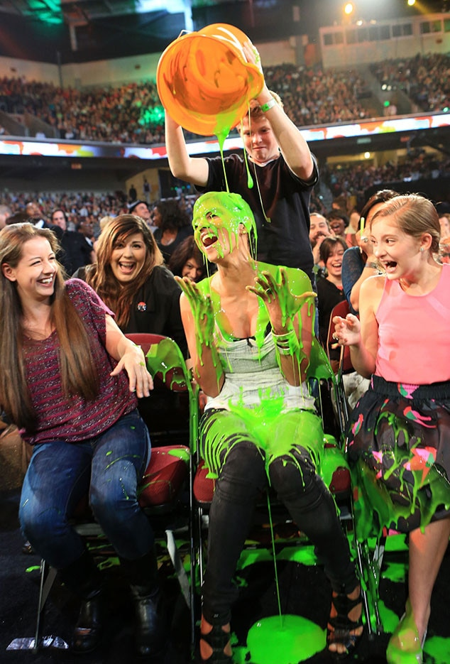 Halle Berry -  The star didn't even have to leave her seat to get slimed at the 2012 show.