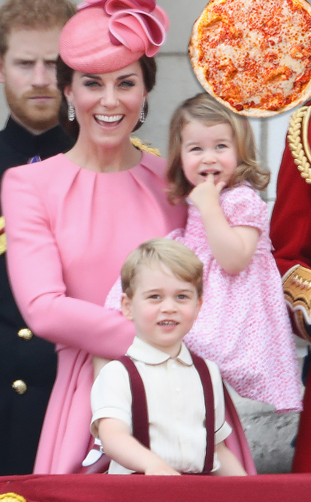 Kate Middleton, Prince George, Princess Charlotte, Pizza