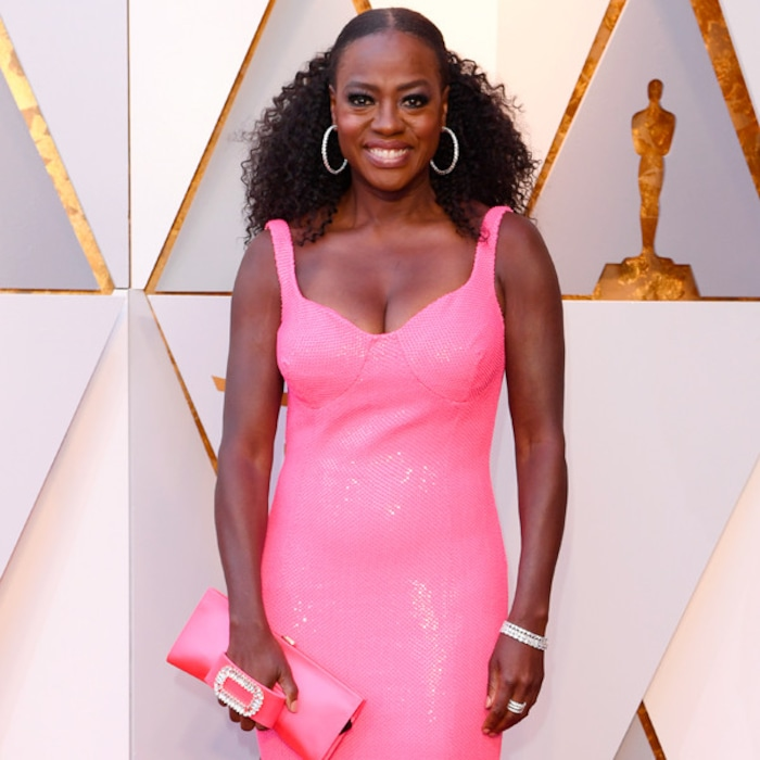 Viola Davis Delivers A Much Needed Pop Of Color In Hot Pink Gown On 2018 Oscars Red Carpet E News