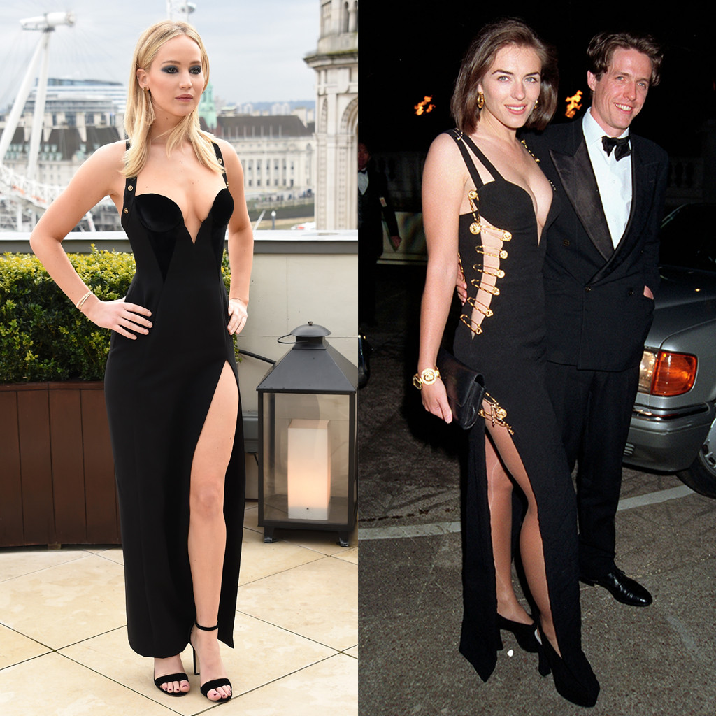 Jennifer Lawrence, Elizabeth Hurley, Versace Dress