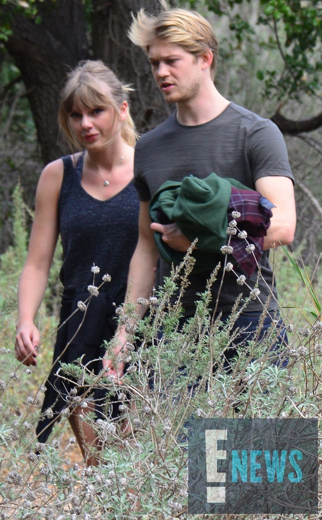 "March 2018 -  Swift and Alwyn are spotted on a hike together in Malibu. The ""End Game"" singer can be seen wearing her necklace with a ""J"" initial on it."