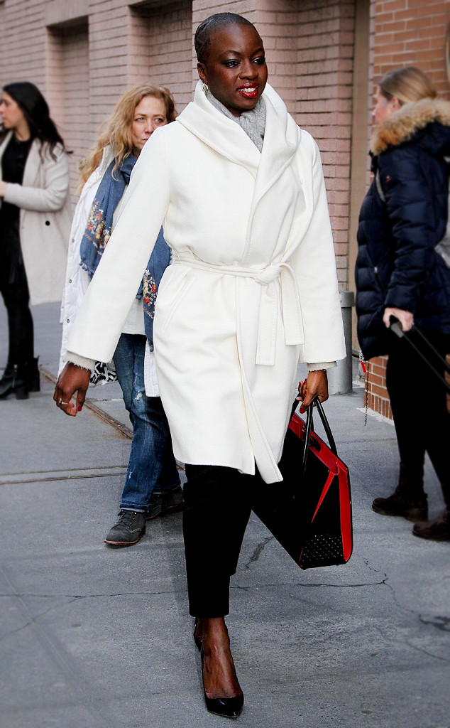 ESC: Danai Gurira, White Wrap Coat
