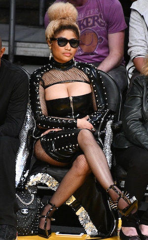 ESC: Nicki Minaj, Basketball Game, S&M leather outfit