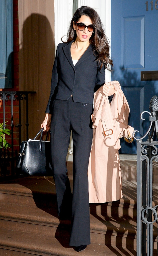 Business Flare -  Amal shows she's all business in this black ensemble.