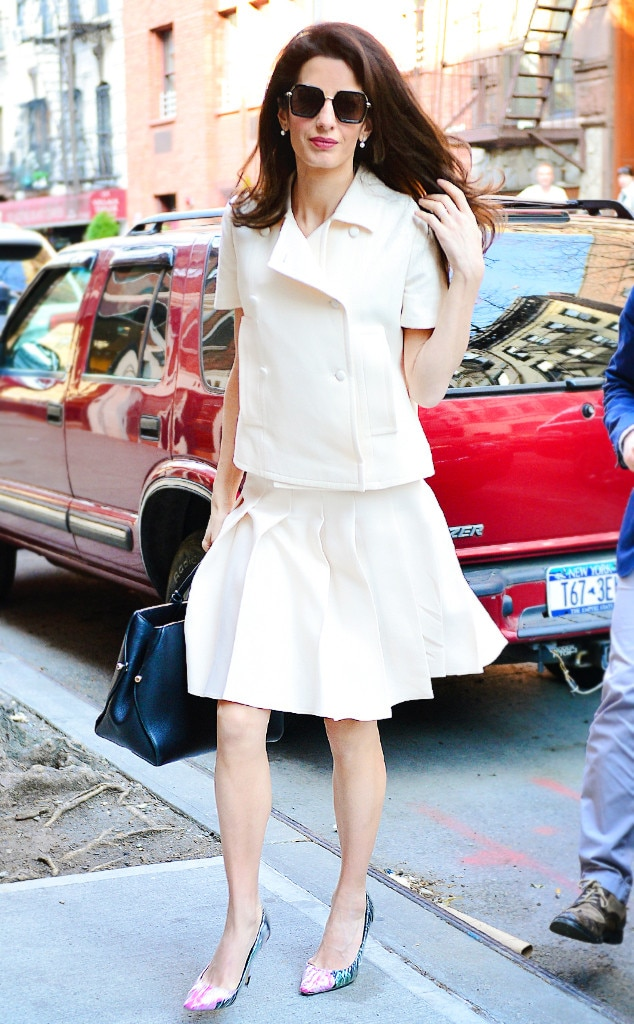 Delicate Cream -  The fashionista looks sweet in a matching cream outfit while walking on the streets in NYC.