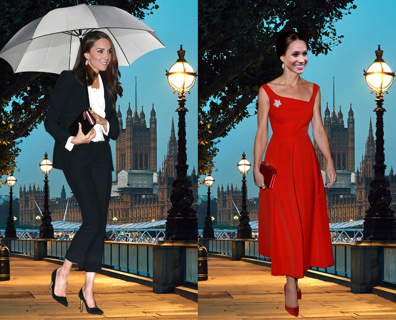 Meghan Markle, Kate Middleton, Outfit Swap, Evening