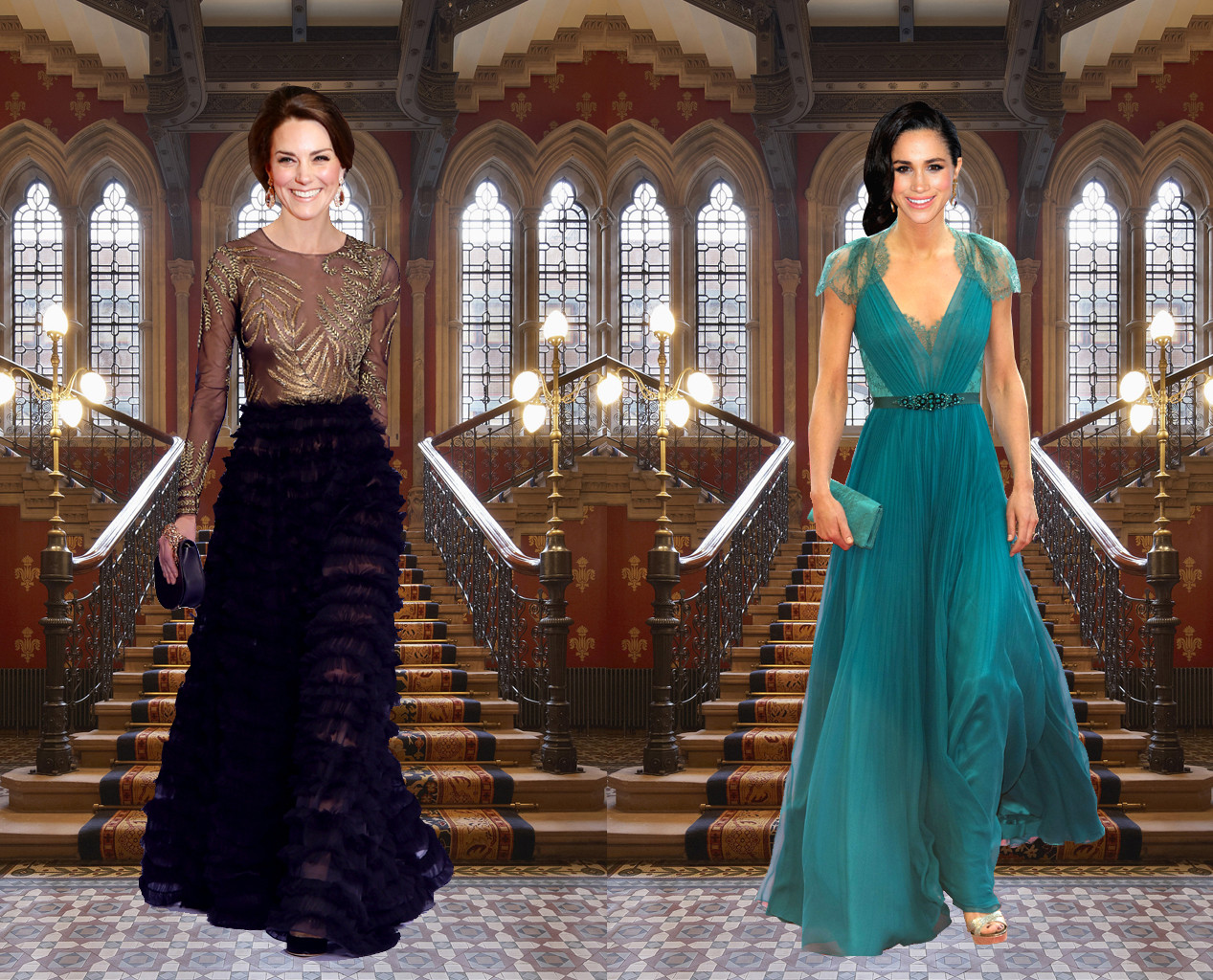 Meghan Markle, Kate Middleton, Outfit Swap, Black Tie