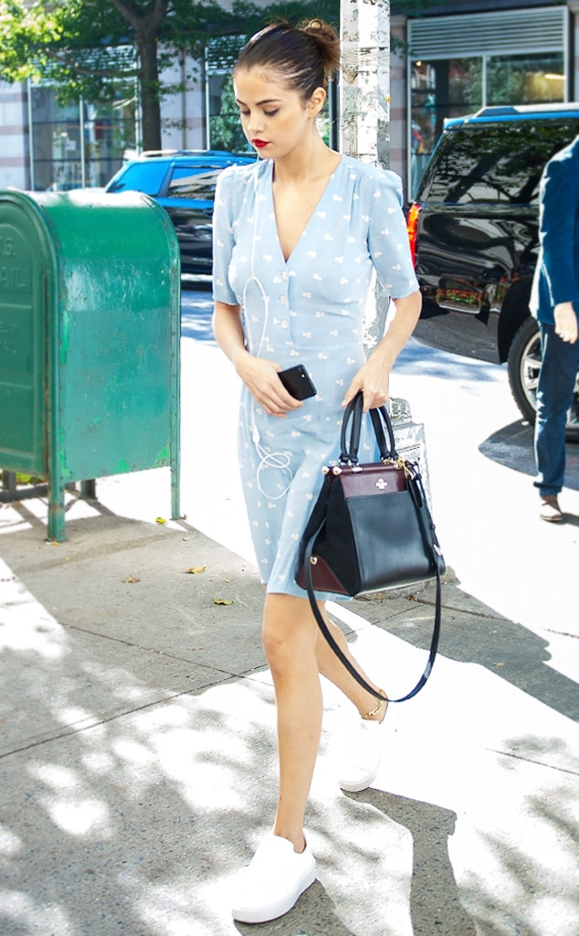 How to Wear Sneakers With Dresses Like Selena Gomez | E