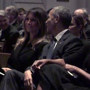 Melania Trump, Barack Obama, Barbara Bush, Funeral