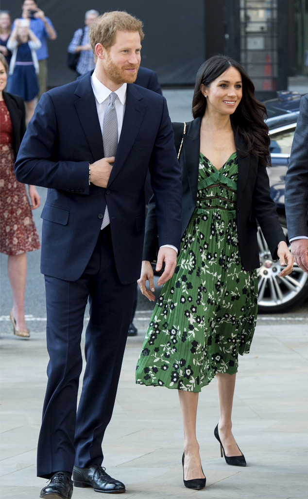 Meghan Markle Wears Green Floral Dress As She Joins Prince Harry At
