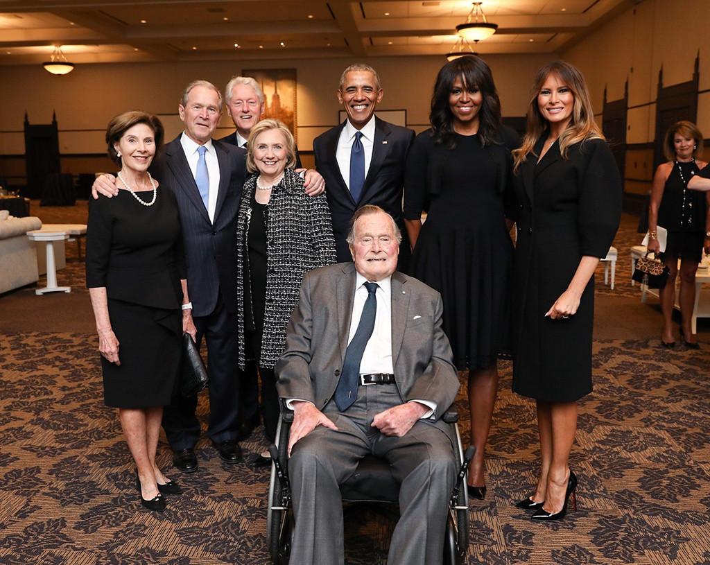Melania Trump, Barack Obama, Michelle Obama, Bill Clinton, Hillary Clinton, George W. Bush, George H.W. Bush, Barbara Bush Funeral