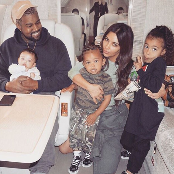 7add0781bf9 Kim Kardashian Shares a Rare Photo of Herself With All Three Kids and Kanye  West