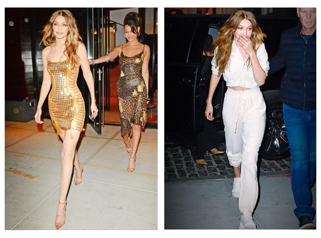 ESC: Gigi Hadid, Gold Dress, Birthday Tracksuit