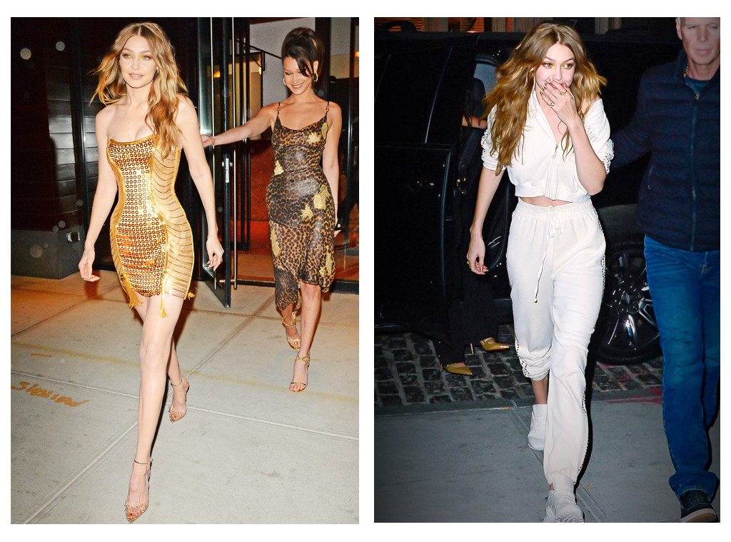 ESC: Gigi Hadid, Gold Dress, Birthday Tracksuit