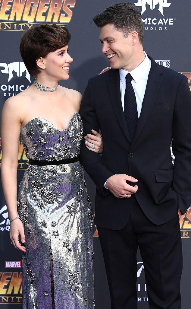 Scarlett Johansson, Colin Jost, Avengers Premiere