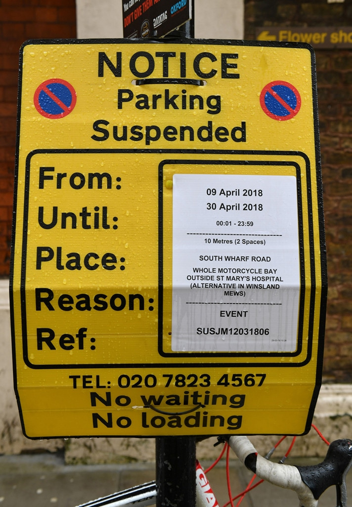 Lindo Wing of St Mary's Hospital, No Parking