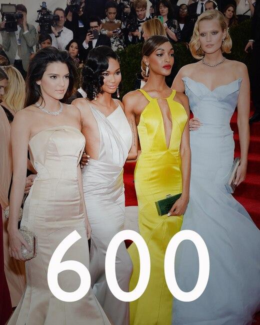 ESC: Kendall Jenner, Chanel Iman, Jourdan Dunn and Toni Garrn, Met Gala, Numbers