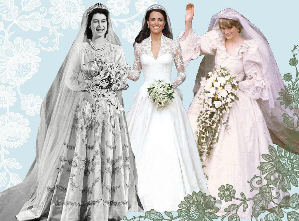 Royal Wedding Dresses, Queen Elizabeth, Kate Middleton, Princess Diana