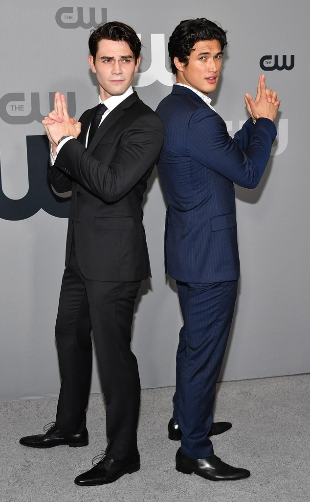 KJ Apa & Charles Melton -  Bonds, James Bonds! The  Riverdale  co-starsshow off their suave secret agent moves at the CW Network Upfront event in New York.