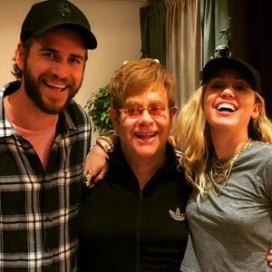 Elton John, Miley Cyrus, Liam Hemsworth