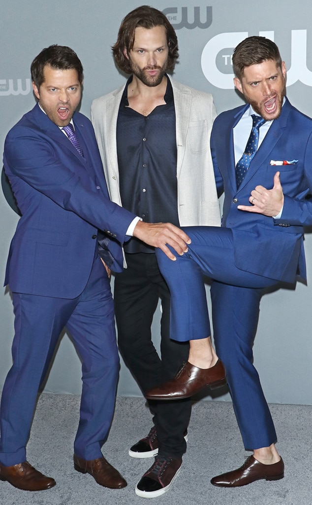 Misha Collins, Jared Padalecki & Jensen Ackles -  Fierce! The  Supernatural  trio show off some of their rockstar movesat the  2018 CW Upfront  in NYC.