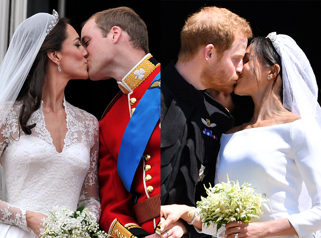 Kate Middleton, Prince William, Prince Harry, Meghan Markle, Royal Wedding Kisses