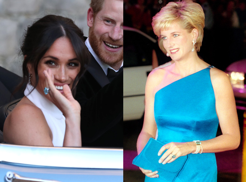 Image result for Prince Harry gave his bride an emerald-cut aquamarine ring which had belonged to his late mother - Diana, Princess of Wales.