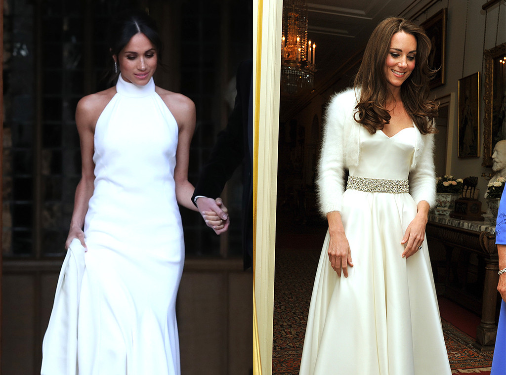 Comparing Meghan Markle And Kate Middletons Reception Dresses E News