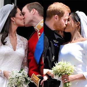 Kate Middleton, Prince William, Prince Harry, Meghan Markle, Royal Wedding Kisses