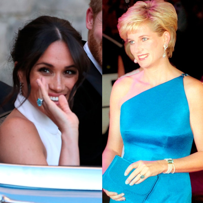 Image result for meghan markle wedding ring something blue diana tribute