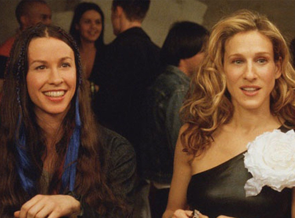 """Alanis Morisette -  The singer and Carrie lock lips during a game of Spin the Bottle in """"Boy, Girl, Boy, Girl..."""" (Season 3)."""