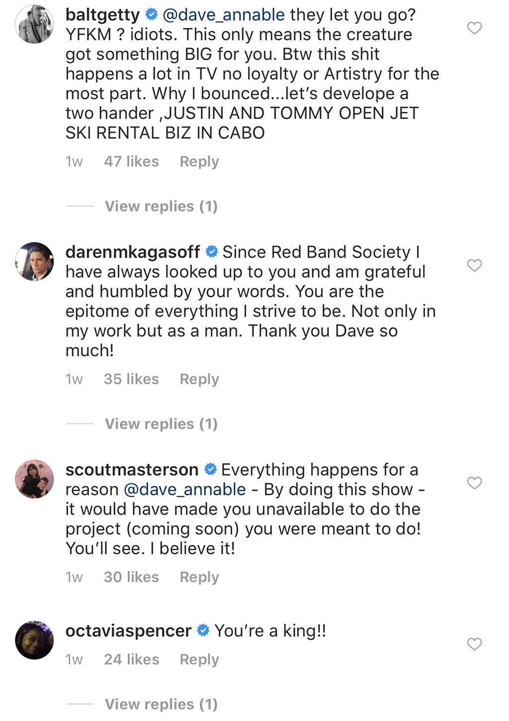 Dave Annable, Instagram Comments