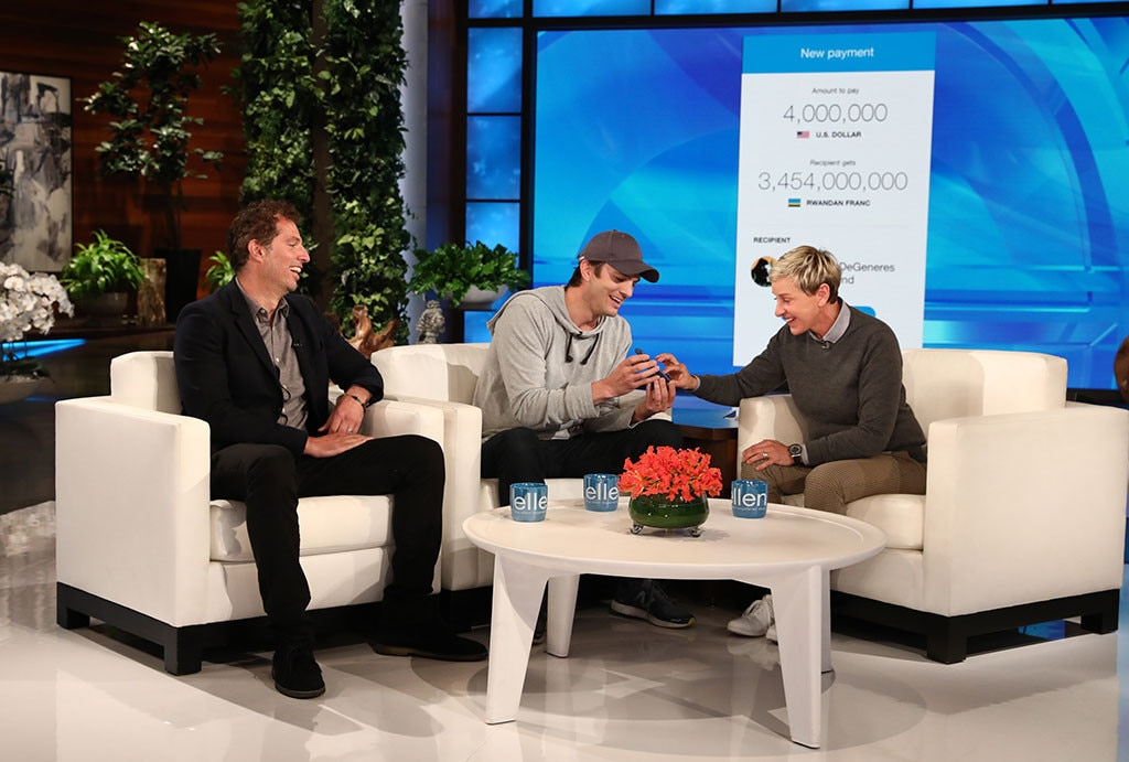 Ashton Kutcher Surprises Ellen DeGeneres With £3 Million Donation