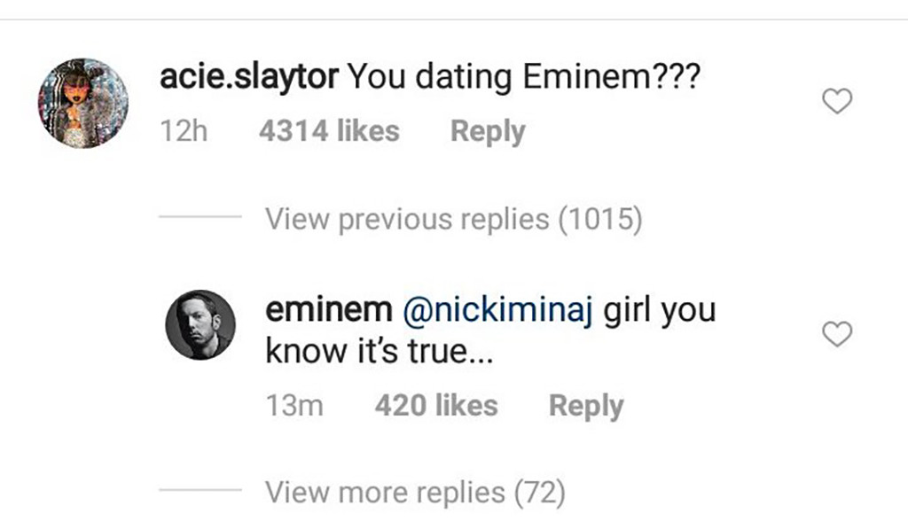 Eminem, Instagram Comment