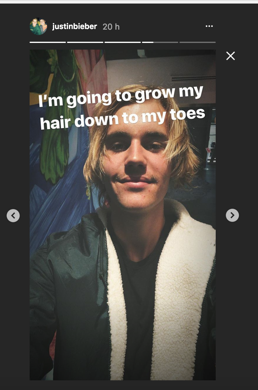 Justin Bieber se deja crecer el bigote