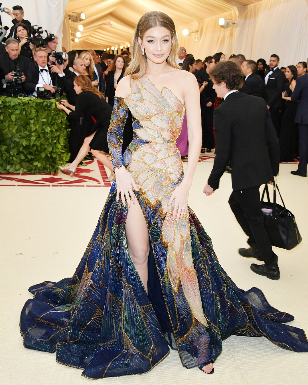 gigi hadid s gown mirrors the beauty of stained glass at the met