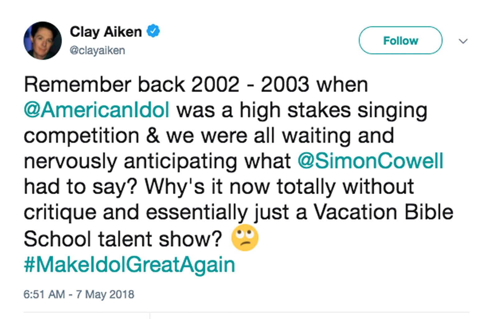 Clay Aiken, Twitter