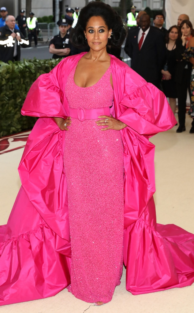 Pink Heartthrob -  Serving major Diana Ross vibes, the actress stuns in this vintage-style sparkling gown with an oversized cape.