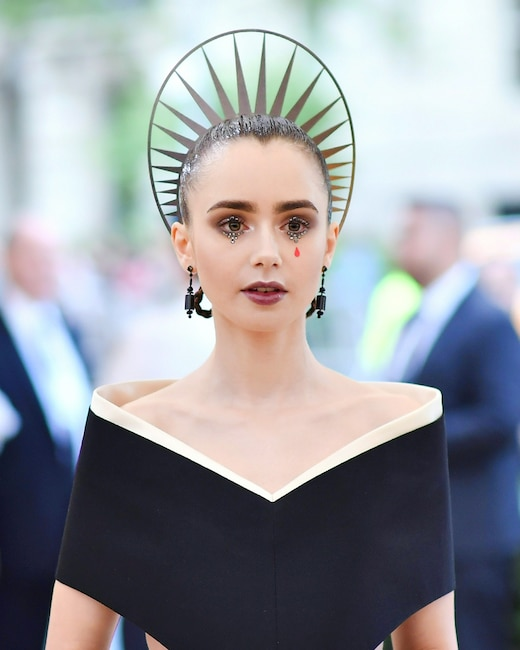 ESC: Lily Collins, Met Gala 2018, Head Pieces