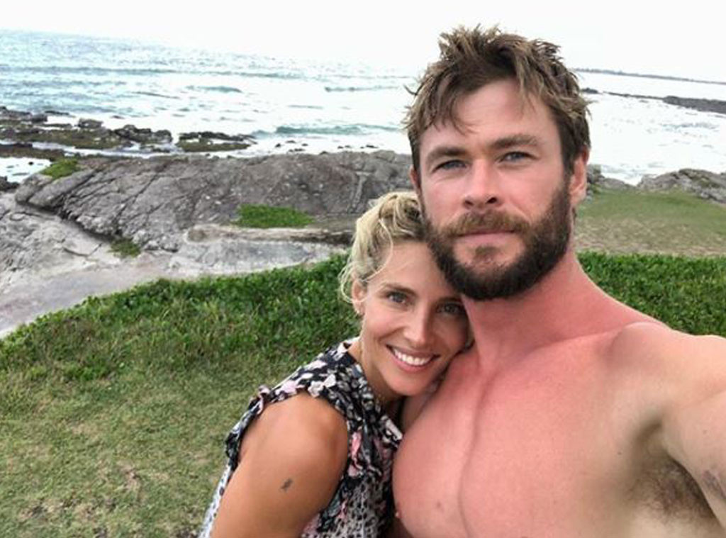 Chris Hemsworth, Elsa Pataky, Beach