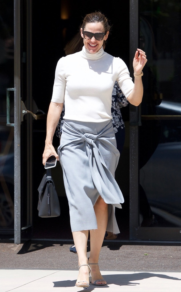 Back to Basics -  The actress Jennifer Garner is seen in a grey pencil skirt and white turtleneck.
