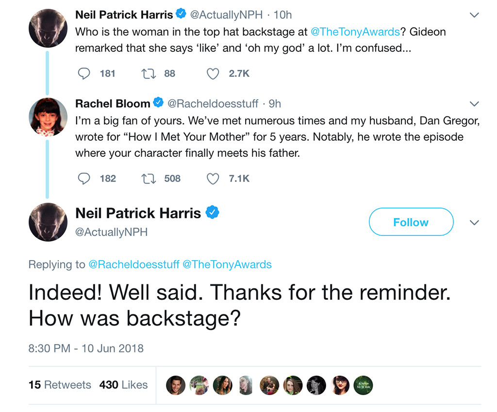 Rachel Bloom, Neil Patrick Harris, Twitter