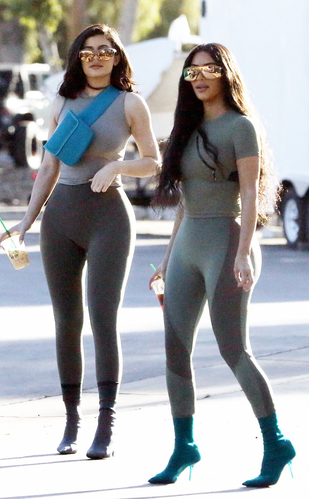 Kim Kardashian and Kylie Jenner Look Like Twins in Spandex ...