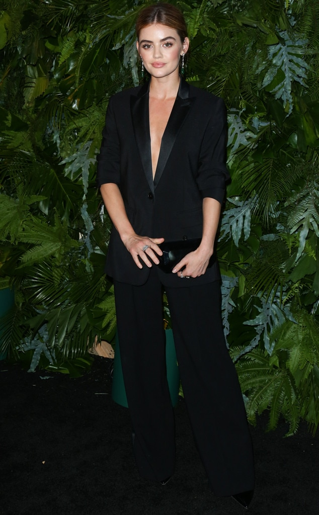 Dashing Suit -  Actress,  Lucy Hale , looks incredibly chic and sophisticated in her black pant suit at the  Max Mara WIF Face Of The Future  event in Los Angeles.