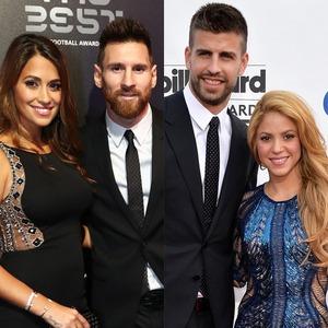 Gerard Pique, Shakira, Lionel Messi, Antonella Roccuzzo, Cristiano Ronaldo, Georgina Rodriguez