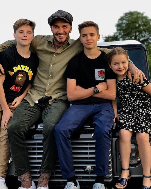 David Beckham, Romeo Beckham, Cruz Beckham, Harper Beckham, Father's Day 2018