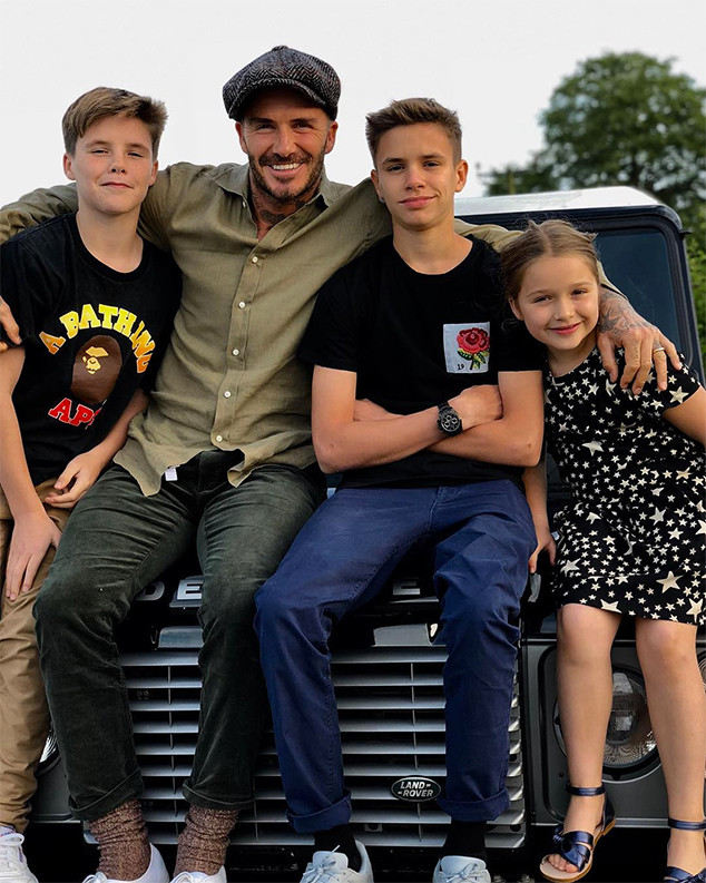 David Beckham, Romeo Beckham, Cruz Beckham, Harper Beckham, Father's Day 2018